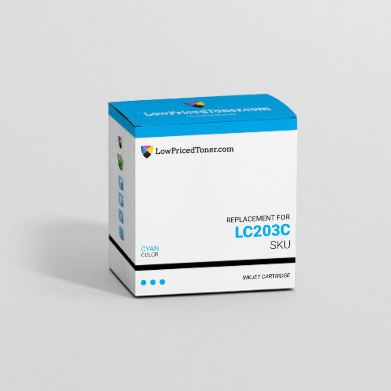 Brother LC203C Remanufactured Cyan Ink Cartridge High Yield